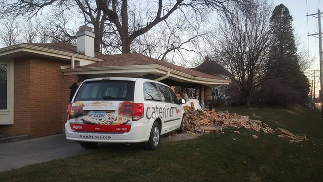 A Hy-Vee catering van crashes into an Ames garage Thursday evening.