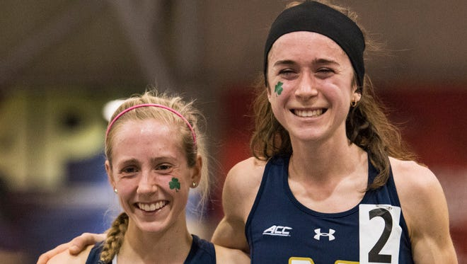 Notre Dame's Molly Seidel, right, and Anna Rohrer were first and fourth, respectively, in the 5,000 meters at Friday's NCAA Indoor Championships.