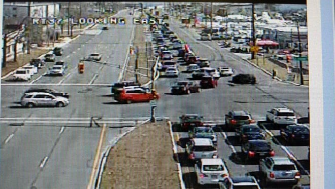 Traffic on Route 37 eastbound was at a standstill Saturday afternoon. This is screen grab from a camera belonging to the state Department of Transportation. The view is looking east over the Route 37 and Fischer Boulevard intersection at about noon.