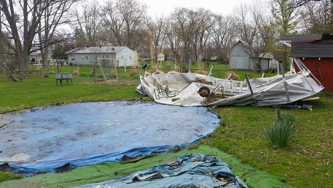 An above-ground pool was toppled by high winds in Clermont on Saturday, April 2, 2016.