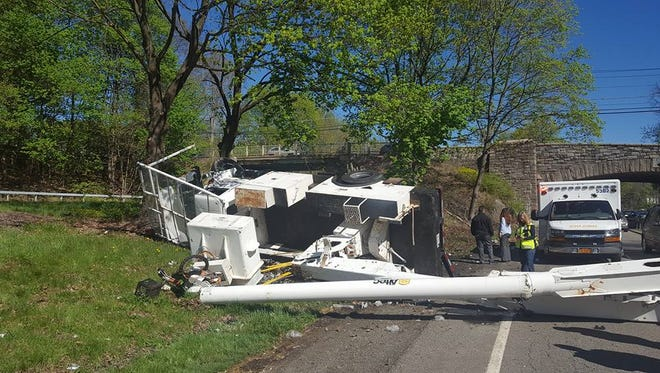 A truck, which crashed into the Pleasantville Road Bridge on Route 9A on the morning of Wednesday April 27, 2016. The truck caused traffic to back up for much of the morning.