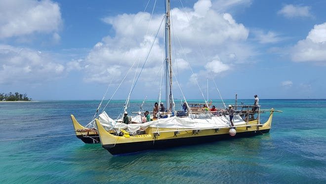 The canoe Alingano Maisu is shown in this May 7 photo from the Office of the Governor Northern Mariana Islands Office of the Press Secretary in the waters of Saipan.