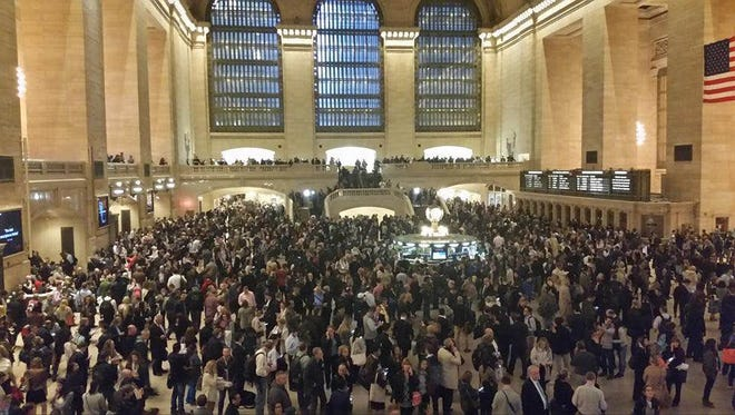 Grand Central is jammed about 8 p.m. May 17, after service was suspended because of a tractor-trailer fire under the tracks at Park Avenue and East 119th Street.