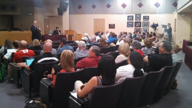 Las Cruces Public Schools Superintendent Stan Rounds meets with members of the district and community to talk about next year's budget during a town hall Monday at the LCPS Administration Building.
