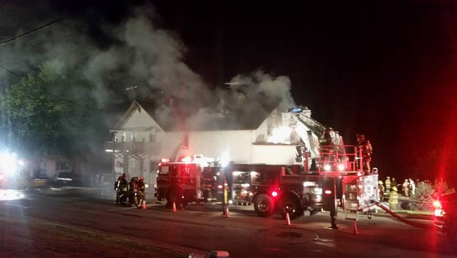 A fire at an apartment building Monday night displaced 10 occupants.
