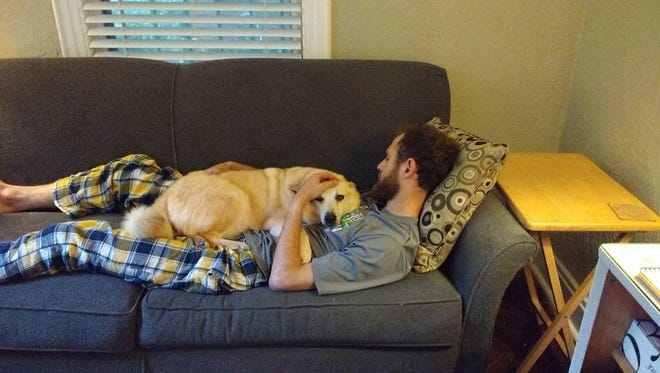 Berit, a female Norwegian buhund removed from a Cottrellville Township home in June, rests on Penn Greene. Greene's mom, Trina Fennell adopted the dog.