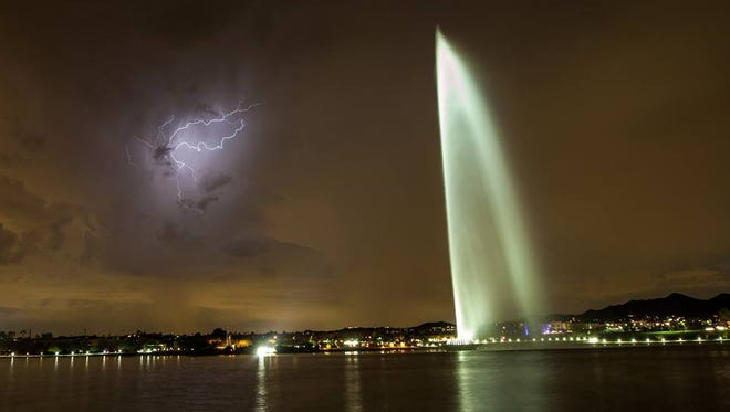 Lightning captured in Fountain Hills during the Aug. 10 storm.