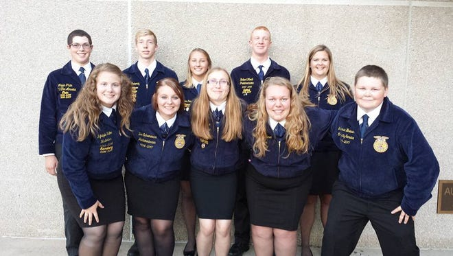 Members of the Waupun Area FFA Chapter Officer Team who participated in the 2016 Sectional Leadership Workshop in Poynette are, front row, from left: Mykayla Kuhn, Zoe Schuenemann, Emily Schwanke, Tiffany Van Buren and Larry Brewer. Back row, from left: Logan Pluim, Dylon Pokorny, Katrina Pokorny, Robert Woock and Kaylee Rahn.