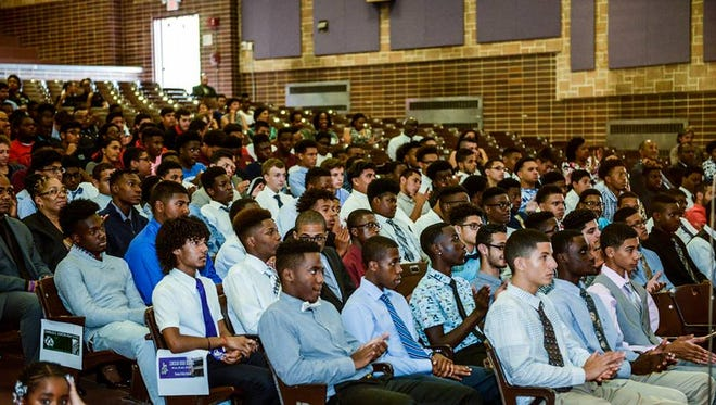 Young men gather at Lincoln High School in Yonkers for the launch of the city's My Brother's Keeper initiative.