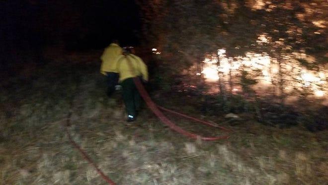 Western Dickson County brush fire Wednesday night.