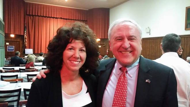 John Rafferty, Republican candidate for state Attorney General, took time out for a photo with Lebanon Mayor Sherry Capello at Thursday night's election rally at Lebanon County Republican Committee headquarters in Lebanon. Rafferty was the keynote speaker at the rally, which attracted well over 100 Republican supporters who came out to see him and some of the party's slate of local candidates.