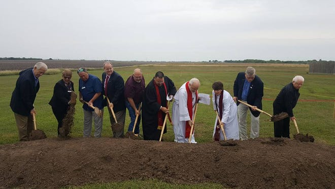 Clergy, church board members and Portland Mayor David Krebs broke ground Sunday celebrating Portland First United Methodist Church's new prayer garden and columbarium, which is set to be completed in the next couple of months.