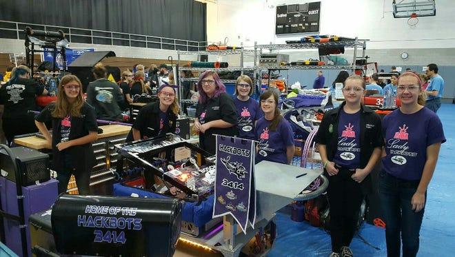 Farmington's all-girls robotics team, Lady Hackbots, won the robotics competition in Bloomfield Hills Nov. 12.