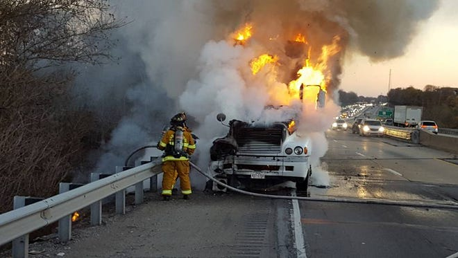 "From Shrewsbury Volunteer Fire Company: ""Engines 61-1 and 61-2 are on location of a working tractor trailer Fire 83 NB at Exit 4. 83 NB is closed."""
