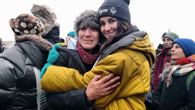 Fort Collins resident Liz Bunya with actress Shailene Woodley at the Standing Rock protests.