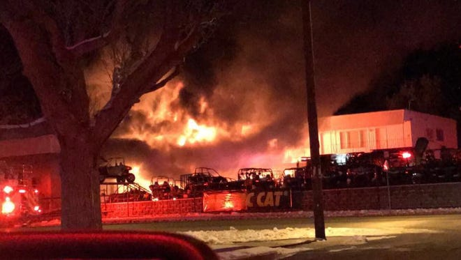 A fire burned the garage portion of D & P Performance at 110 E. Center St. Monday night.