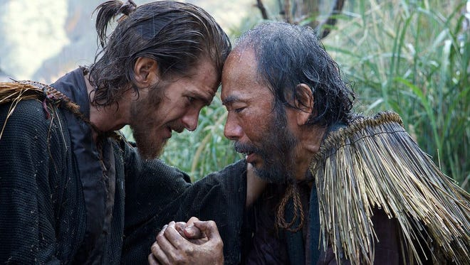 "Andrew Garfield (left) is a Jesuit priest in 17th-century Japan in ""Silence."""
