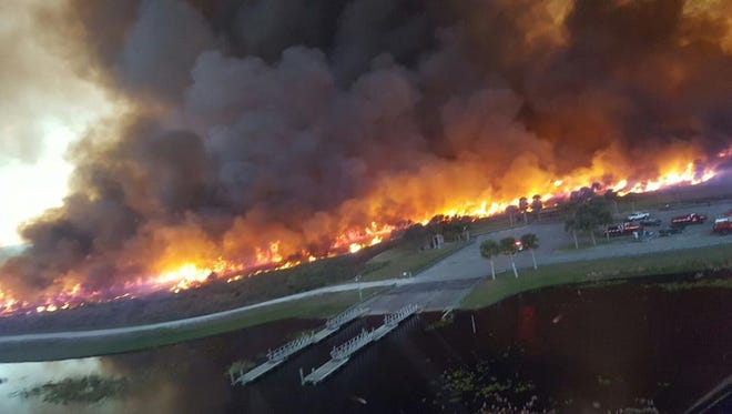 Over 2,000 acres burned from wildfires southwest of Palm Bay in Brevard County.