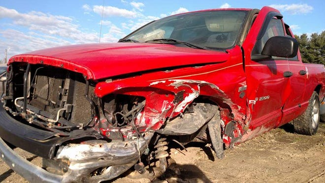 This photo taken by David Warch shows the condition of his truck after it was towed from a vehicle collision on Feb. 21. Warch walked away from the crash with minor bruising because a previous citation for improper seat belt use caused him to be wearing his seat belt correctly at the time of the crash.