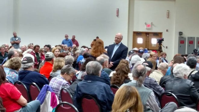 Congressman Steve Pearce answers a constituent's question during Saturday's town hall here.