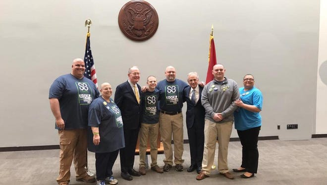 Pictured from the left are Marshall Campbell, Joyce Tibbs, Sen. Lamar Alexander, Isaac Harrison, Dr. Jeremy Harrison, Sen. Bob Corker, Logan Simmons and Chris Simmons.