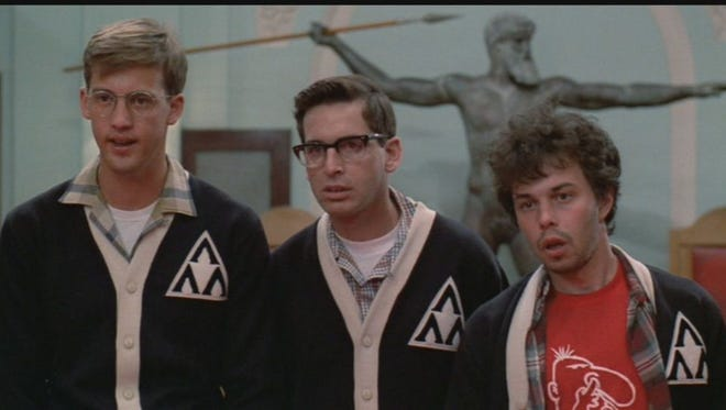 "Anthony Edwards, Robert Carradine, and Curtis Armstrong in 1984's ""Revenge of the Nerds."""