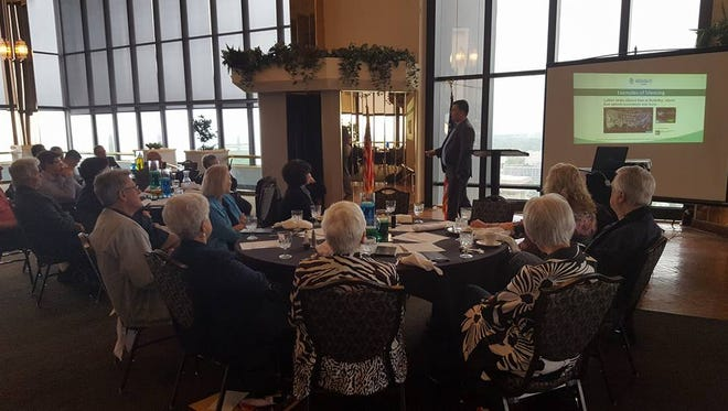 Jeremy Cady, director of the Missouri branch of Americans for Prosperity, speaks to the Greater Ozarks Pachyderms at a recent meeting in the Tower Club. The group is now meeting at Ocean Zen.