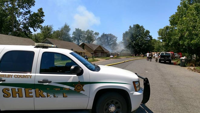 Shelby County Sheriff's Office vehicles at a fire Friday in the Northaven area.