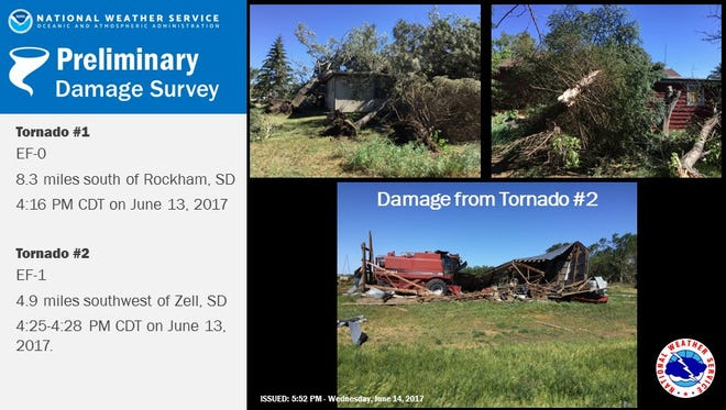 Pictures of the damage caused by tornadoes on June 13