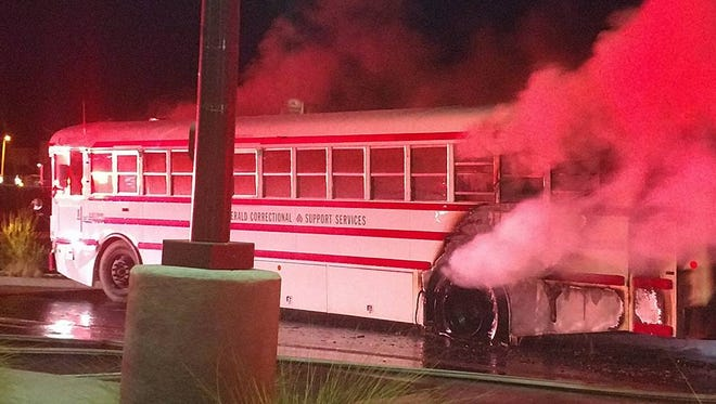 A bus recently purchased at an auction caught fire Thursday, June 15, near the corner of University Avenue and Don Roser Drive. The two occupants safely exited the bus.