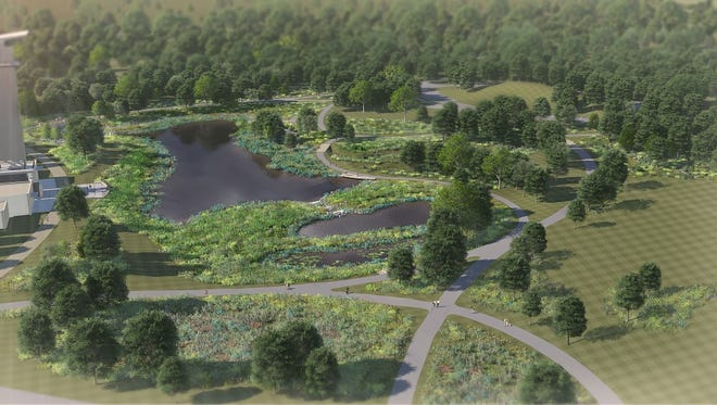 This rendering shows ponds that will be incorporated into Summit Park in Blue Ash. The plan also calls for a playscape that uses natural elements.