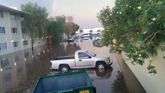 UMOM New Day Centers in Phoenix, a shelter for homeless families, was flooded out by a monsoon storm on Aug. 3, 2017.