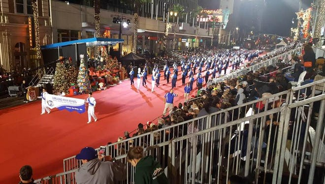 The Carlsbad High School Cavemen Band performed in the 86th annual Hollywood Christmas Parade Sunday, Nov. 26, 2017.