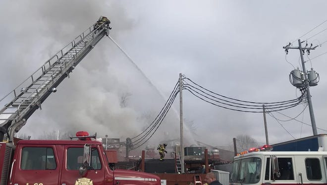 Firefighters from six departments helped extinguish a fire at Patti's 1800's Settlement in Grand Rivers, Ky., on Monday morning.