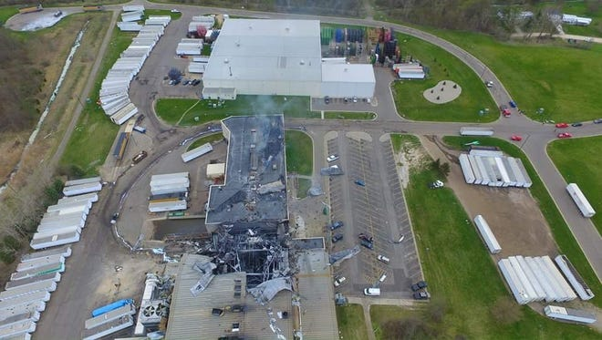 This photo taken from a drone shows the damage at Meridian Magnesium Products in Eaton Rapids from a fire that began early Wednesday, May 2, 2018.