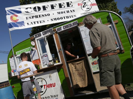 Buzz Thru espresso bar was one of the vendors open on Tuesday for the qualifying session of the Sports Car Course of America National Championship Runoffs, at Mid-Ohio Sports Car Course. The espresso bar came with racing car driver Bruce Wolff, from Fort Collins, Colorado.