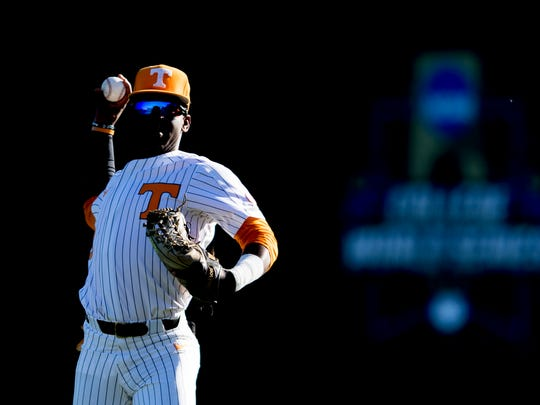 Tennessee outfielder Brodie Leftridge (1) warms up during a game between Tennessee and ETSU at Lindsey Nelson Stadium in Knoxville, Tennessee on Friday, March 2, 2018.