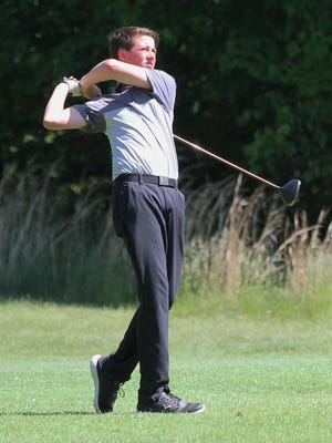 Cade VandenBosch takes a swing at the Diamond Springs Junior Open on Saturday.