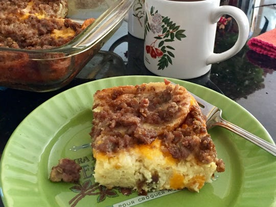 This egg strata can be customized to your liking.