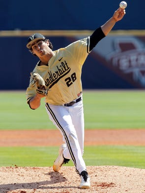 Vanderbilt's Jared Miller (28) pitches against LSU during the first inning at the Southeastern Conference NCAA college baseball tournament on Wednesday, May 21, 2014, in Hoover, Ala.