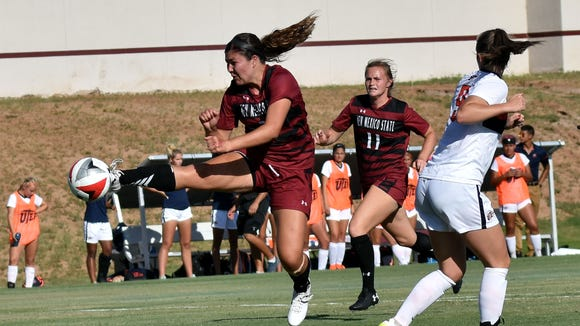 New Mexico State's Audriana Chavez takes a shot against
