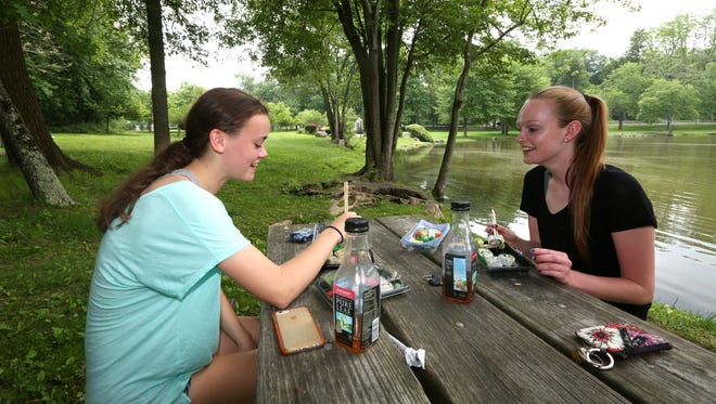 Elizabeth Considine, left, and Kaitlyn Harding, both of Pearl River, have lunch at Orangetown's Veterans Memorial Park in Orangeburg May 27, 2016.