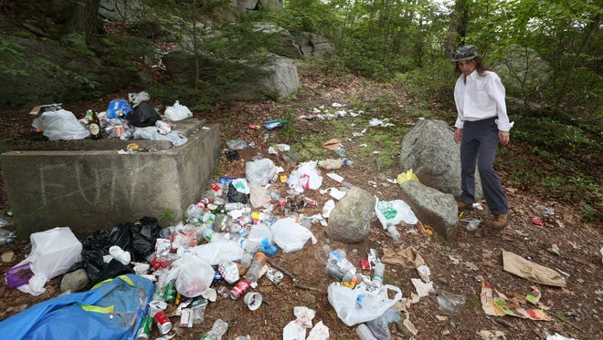 Marilyn Piscitelli of Suffern looks at garbage along a trail at Pine Meadow Lake in Harriman State Park Aug. 11, 2016.