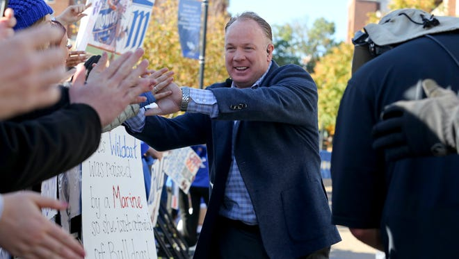Oct 22, 2016; Lexington, KY, USA; Kentucky Wildcats head coach Mark Stoops interacts with fans before the SEC Nation show before the game with the Kentucky Wildcats and the Mississippi State Bulldogs at Commonwealth Stadium.