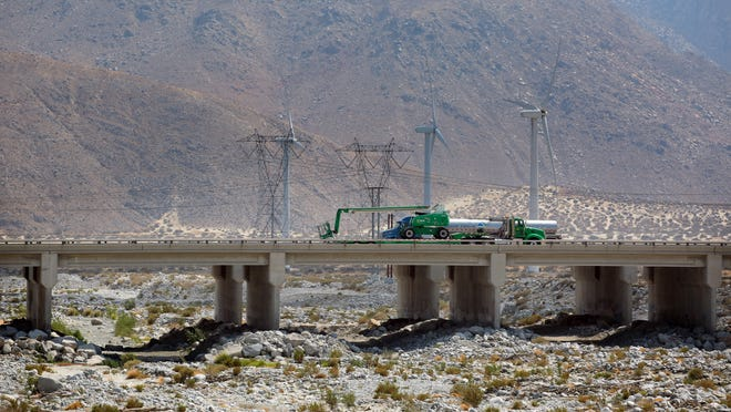 Traffic on the I-10 Whitewater River bridges on July 21, 2015. These bridges have been rated scour critical, meaning there is an increased risk of them collapsing in a flood.