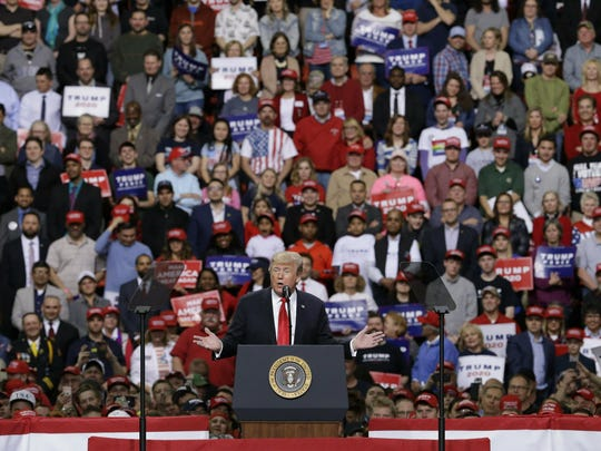 President Donald Trump speaks at a Make America Great Again rally Saturday, April 27, 2019, in Green Bay, Wis. (AP Photo/Mike Roemer)