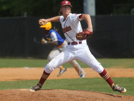 Florida High sophomore A.J. Thorp pitches against Rickards.