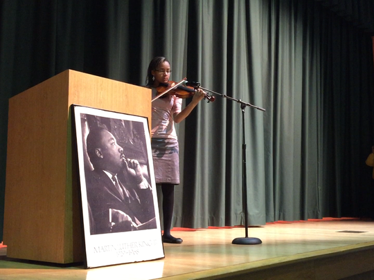Jocelyn Hedgemen performs a selection on the violin during Monday's 2016 Martin Luther King Jr. breakfast program at Vineland High School.