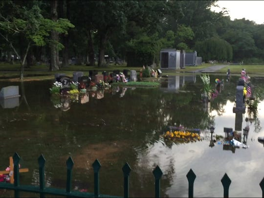 Friday evening's rainstorms flooded Siloam Cemetery