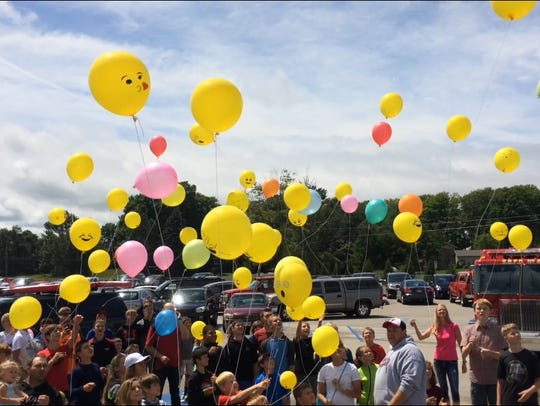 Balloons were released as part of the celebration.